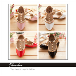 Wholesale 2014 Hot new PRINCESS girls sandals baby leather shoe rivet girl sandal children s dance party flat shoes kids gift pink sandals AXL00001