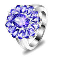 Wholesale sterling silver plated purple carystal Amethyst ring R0016
