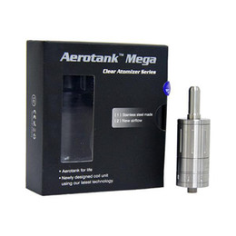 Wholesale Aerotank Mega ml Pyrex glass Stainless steel upgraded Dual coil Adjustable atomizer Airflow control Clearomizer for e cigarette battery