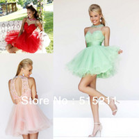 Reference Images Chiffon Sleeveless Cute Beaded Lace Top Mint Red Pink Open Back Short Corset Prom Homecoming Dresses Party Gowns 2014 New Arrival