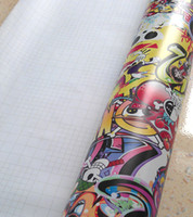 Wholesale 12 quot x60 quot cmX152cm Cool Fashion ROCKSTAR Graffiti STICKER BOMB JDM Vinyl Car Wrap