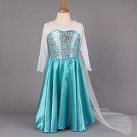 girls dress - 2015 New Arrival Elsa Princess Girl Dresses Blue Elsa Dresses With White Lace Wape Girls Frozen Fever Anna Dresses kids clothes GD40527
