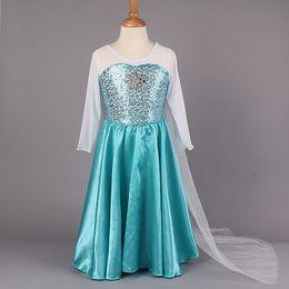 Wholesale 2014 New Arrival Frozen Princess Dresses Blue Elsa Dresses With White Lace Wape Girls New Fashion Frozen Dresses Ready Stock GD40527