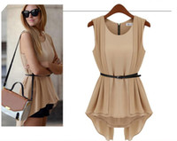 Sleeveless Chiffon  Women Sexy Mini Blouse Chiffon Color Nude Black Crew Neck Sleeveless Fashion New 2014