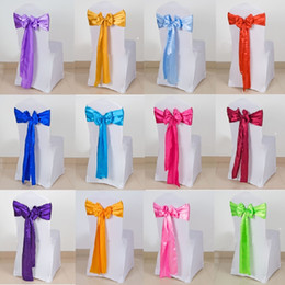 Wholesale 150 Meter roll New Beautiful Wedding Party Banquet Chair Cover Satin Ribbon Bow Sash Supplies Multi Color Choose Cheap Sale