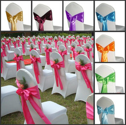 Wholesale Multi Color Beautiful Wedding Party Banquet Chair Cover Satin Ribbon Bow Sash Supplies Cheap Sale