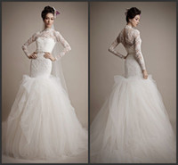 Cheap Trumpet/Mermaid Long sleeve Wedding Dress Best Reference Images High Collar LACE Wedding Gowns