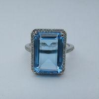 Wholesale Solid k White Gold Engagement Wedding Diamond Ring x10mm Emerald Blue Topaz