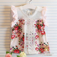 Wholesale Summer Baby Girls Flowers Hollow Shirts Children Sleeveless Lace Floral Tops Clothing