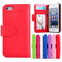 Wholesale For iPhone S Stand Design Wallet Style Soft PU Leather Case Luxury Phone Bag Cover With Card Holder Photo Frame iphone5