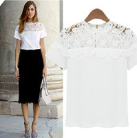 Women Polo Tops New Arrive 2014 Women Summer Fashion White O-neck Loose Lace Patchwork Casual Short Sleeve Cotton Tshirts Ladies Blouses Shirts