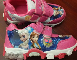 Wholesale 12pairs Frozen Anna and Elsa shoes sneakers sport sports shoes purple pink colours