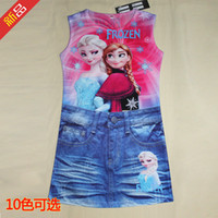 Wholesale 2014 summer new girl frozen dresses cm color cozy boutique children s clothing cartoon printed fake denim skirt children skirt