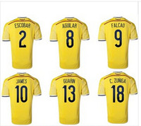 Wholesale 2014 World Cup Falcao Colombia Home yellow soccer jersey shorts uniforms and equipment Training Suit Set