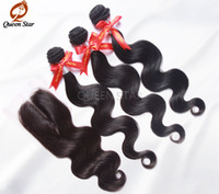 "30g Ombre Color Brazilian Hair Lace Base Middle Part Closure With 3 Bundles Brazilian Virgin Hair Body Wave 4*4,12 to 20"" Silk Base Closure FREE SHIPPING"