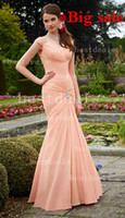 pink beach wedding party prom dresses long 2014 ruched ruffl...