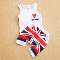 Boy Summer Sleeveless Summer Baby Boys Casual Flag Clothing Sets Children Sleeveless Striped Vest Sling Tops+Sport Shorts Pant 2PC Suits Kids Outfits
