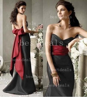 2014 Sweetheart Satin Mermaid evening dresses with red Bow E...