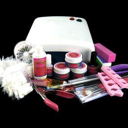 Wholesale 36W UV Gel Lamp Brush Pen Set False Nail Topcoat Forms Cuticle Pusher sides Pink Buffer Block N026 Nail Art Kits Set
