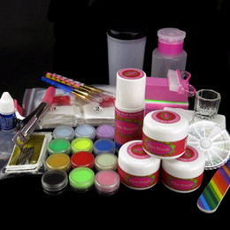 Wholesale 500 False Nail Acrylic Powder Liquid Sticker Forms Colors Nail Art Rhinestones Brush Nail Art g Nail Glue N002 Kits Set