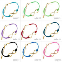 Wholesale New Arrival Leather Bracelet love Infinity Bracelet Eight words Wax Rope Bracelet Black Braid