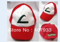 Wholesale Pokemon style Pokemon hat Pikachu black blue Ash Katchum Hat Cap Cosplay Anime Baseball cap Sun hat hot sale