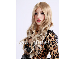 Blonde Synthetic Hair Wig,Half Wig Free shipping COLORONE Capless Long Curly Blonde High Quality Synthetic Wig HCWG008