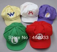Wholesale Super Mario colors New fashion Mario Luigi Hat Super Mario Bros Cosplay Adult Hat adjustable Buckle cap baseball cap