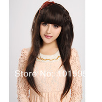 Medium Brown Synthetic Hair Wig,Half Wig Free shipping COLORONE Capless Long Curly Brown High Quality Synthetic Wig Full Bang HCWG015