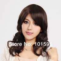 Medium Brown Synthetic Hair Wig,Half Wig Women Wig COLORONE Capless Long Curly Brown High Quality Synthetic Wig Side Bang HCWG010