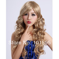 Blonde Synthetic Hair Wig,Half Wig COLORONE Capless Long Curly Blonde High Quality Synthetic Wig HCWG012 free shipping