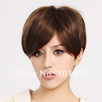 Medium Brown Synthetic Hair Wig,Half Wig COLORONE Capless Short High Quality Synthetic Light Brown Wig HCWG007 Heat-resistant Fiber Wig