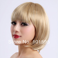 Blonde Straight Synthetic Hair COLORONE Capless Short Bobo High Quality Synthetic Blonde Straight Hair Wig HCWG021 free shipping
