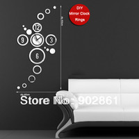 Mechanical funlife Plastic [funlife]- Free Shipping DIY40*80cm (15.7*31.5in) Modern Novelty Fashion Quartz Novelty Home decoration Rings Mirror Wall Clock