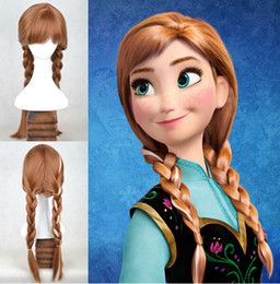 Wholesale New Fashion Cartoon Movie Frozen Anna Brown Braid quot Cosplay Wigs Japan Natural Synthetic Wigs