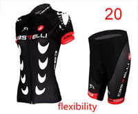 Wholesale CASTELLI Women Black Cycling Jersey Set ultralight Summmer outside Bicycle Skinsuit Close Fitting bicycle Wear