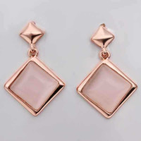 Metal Water Drop Copper Hot Sale Fashion Jewelry18K Real Gold Plated Ring Square Pendant Earring Sets Opal Rhinestone Rose Gold Wedding Jewellery E454