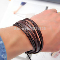 Wholesale 2pcs fashion Jewelry Wrap multilayer Genuine Leather Braided Rope Wristband bijouterie Cuff Love bracelets amp bangles