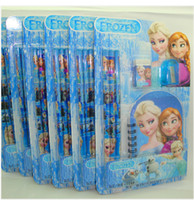 Wholesale sets in Frozen stationery Frozen Elsa Anna Stationery Pencil Eraser Notebook Sharpener ship immediately