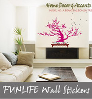 Graphic vinyl PVC Plant [funlife]-A BEAUTIFUL Bonsai TREE Wall Deco Paper Mural Art Decal for Living room Deco
