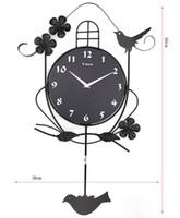 Wholesale funlife cm in Fashion Creative European Clock Wrought Iron Swing Bird Decor Silent Wall Clock