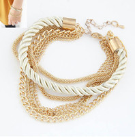 Wholesale New Nice Gift Handmade Gold Chain Braided Rope Multilayer Bracelet Bangle Chain