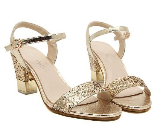 Sparkly Paillette Chunky Heel Gold Sandals Fashion Low Heels Women