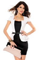 Wholesale M L XL Plus Size Colors New Women Bandage Peplum Casual Dress OL Elegant Career Dress Women Work Wear N126