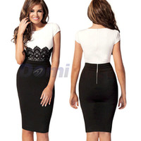 Work Sheath Mini New 2014 spring European and American sexy Slim knee-length stitching lace dress winter sleeve Evening Party Casual Clothing