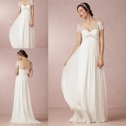 Wholesale DN Vintage Sheer Empire Waist Wedding Dresses Maternity Women Floor Length Chiffon Sexy V Neck Zipper Back Applique Sleeves Bridal Gowns