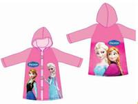 Wholesale Raincoat for kids frozen design cartoon rain coat rainsuit rainwear PVC hooded kid rain coats children retail wholesales