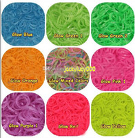 Hair Rubber Bands   Rainbow Loom Refill Rubber Bands 600 Pcs & 24 Clips - Neon, Glow in the Dark
