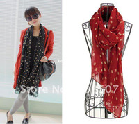 Wholesale hot sale lady s fashion chiffon polka dots scarf shawls warp with mix colours Designer