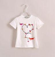 Girl Summer Standard 2014 Summer New Children Clothing Girls Cute Birds Short Sleeve T-Shirts Kids Lovely Heart Pattern Tops Girl Mini Plush Ball Tee I1622